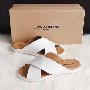 ✨New LUCKY BRAND Mahlay Leather Slide Sandals